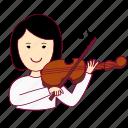 asian woman professions, emprego, job, mulher, musician, musicista, professions, tocar violino, trabalho, violin, work