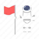 astro, astronaut, banner, flag, man, space, suit icon