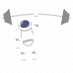 astro, astronaut, barbell, man, rod, space, suit icon
