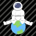 astro, astronaut, earth, globe, man, space, suit