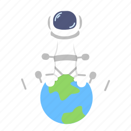 astro, astronaut, earth, globe, man, space, suit icon