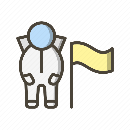 astronaut, direction, flag, location, spaceman icon