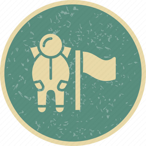 astronout, flag, location, spaceman icon