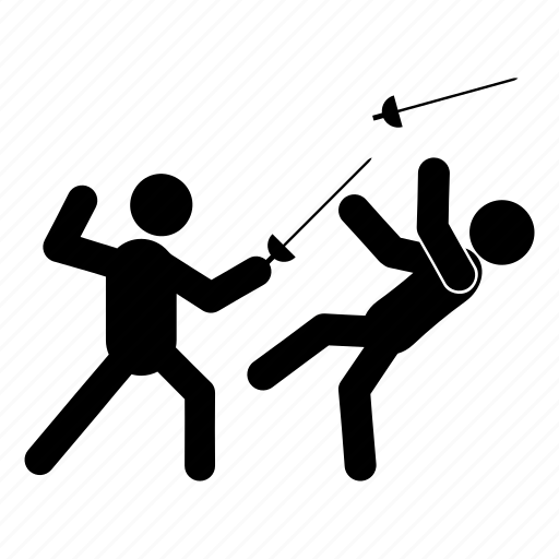 athletes, fencing, fight, people, sparring, sport, training icon