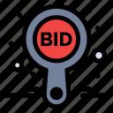 auction, bid, compete, label