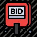 auction, bid, compete, label, tag