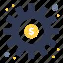 dollar, gear, preference, setting