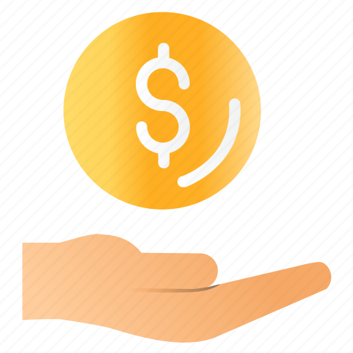 coin, hand, money, recieve icon
