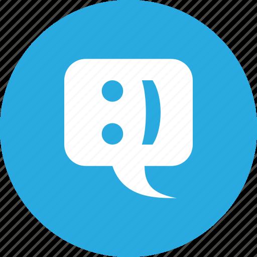 bubble, chat, emoticon, smiley, speech, talk icon