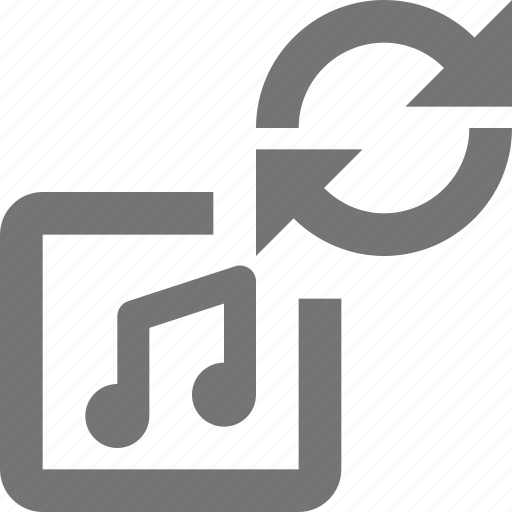 album, media, music, play, refresh, reload, song, sync icon