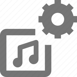 album, configuration, gear, media, music, play, settings, song icon