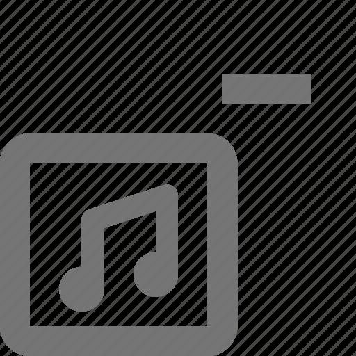 album, media, minimize, minus, music, play, remove, song icon