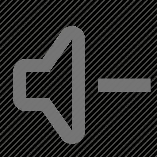 decrease, down, lower, music, sound, speaker, volume icon