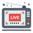 broadcast, live, show, video icon