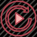 replay, music, multimedia, sound, arrows
