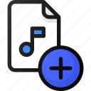 add, music, file, sound, audio