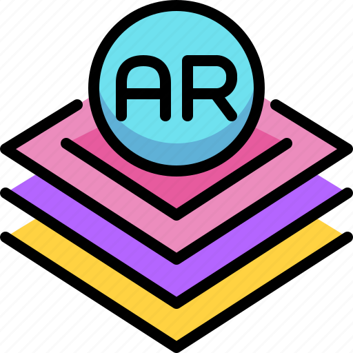 Ar, augmented reality, innovation, layers, virtual reality icon