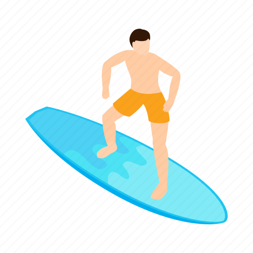 isometric, ocean, surf, surfer, vectior, water, wave icon