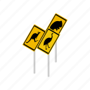 animal, australia, isometric, vectior, warning, wildlife, yellow icon