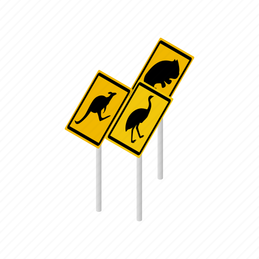 animal, australia, isometric, vectior, warning, wildlife, yellow icon