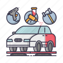 body, car, denting, jet pump, painting, repairing, shop icon