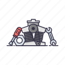engine, maintenance, repair, resources, screw driver, service, wrencher icon