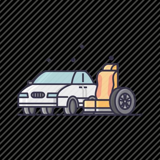 auto, car, care, resources, seat, service, tire icon
