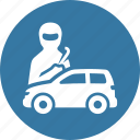 auto insurance, car insurance, thief, vandalism icon