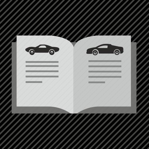 auto, automobile, book, car, catalog, magazine, open icon