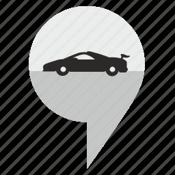 auto, car, geo, location, pointer icon