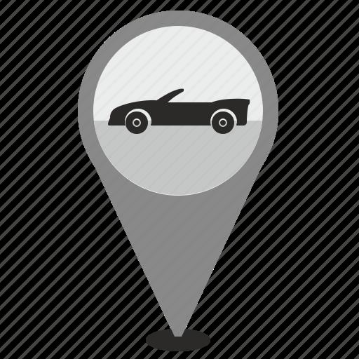 auto, automobile, cabriolet, car, geo, poi, pointer icon