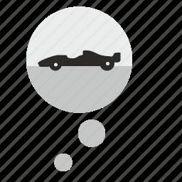 auto, car, comment, dream, formula, race, think icon