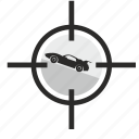 aim, auto, automobile, car, muscle, target icon