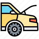 car, driver, engine, hood, open icon