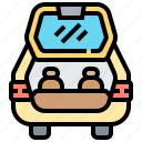 hatchback, open, rear, storage, trunk icon
