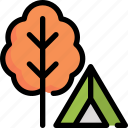 autumn, camping, hoilday, plant, tent, tree icon