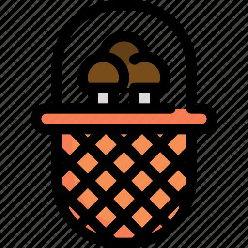 autumn, basket, cart, mushroom, season, store icon
