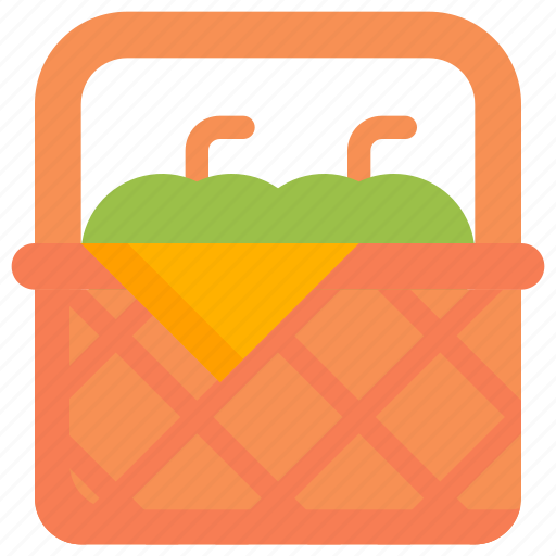 apple, autumn, basket, cart, fruit, season, vegetable icon