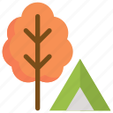 autumn, camping, forest, garden, tent, tree icon