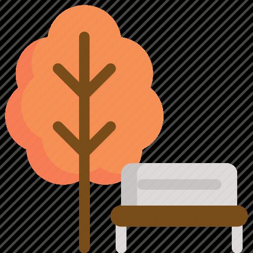 autumn, park, season, seat, tree icon