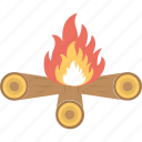 bonfire, burning bonfire, camping fire, firewood, logs burning icon