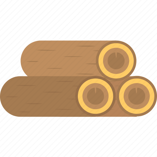 firewood, stack of timber, three logs, tree logs, wooden logs icon