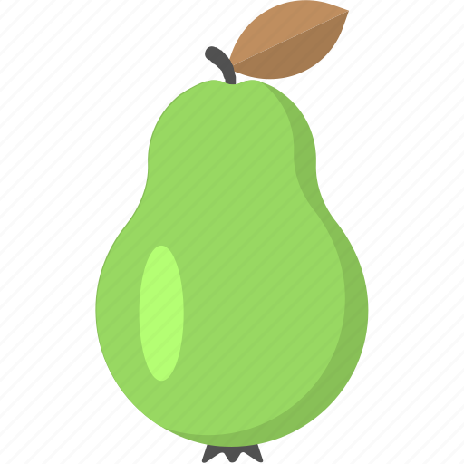 fresh pear, fruit, green pear, pear, pear with leaf icon