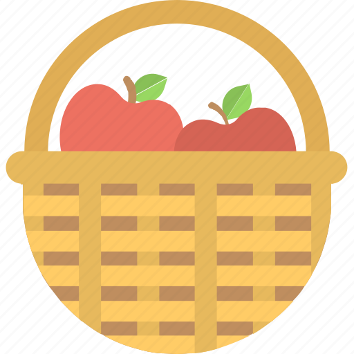 apple, apple basket, fruit, fruit basket, wicker basket icon