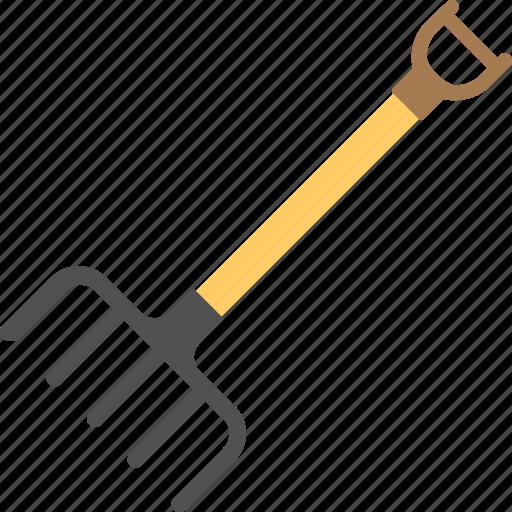 garden rake, gardening tool, hand cultivator rake, lawn rake, rake icon