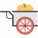 giant pumpkin, harvested pumpkin, pumpkin cart, pumpkin garden, pumpkin in wagon icon