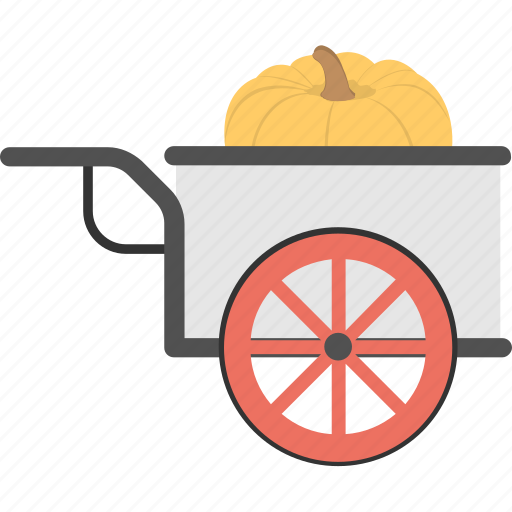 giant pumpkin, harvested pumpkin, pumpkin cart, pumpkin garden, pumpkin in wagon icon