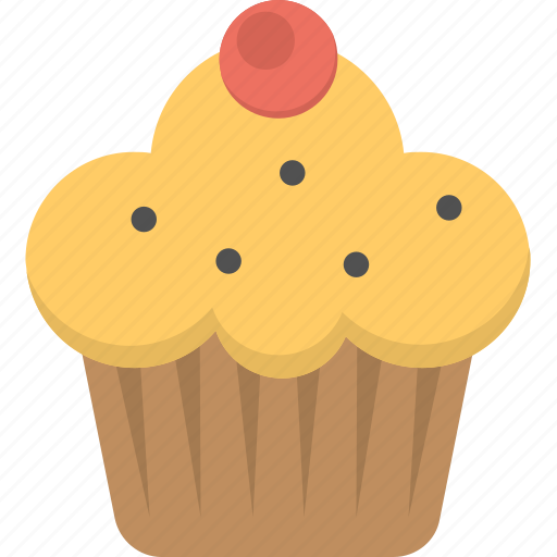 bakery food, cupcake, dessert, muffin, muffin with cherry icon