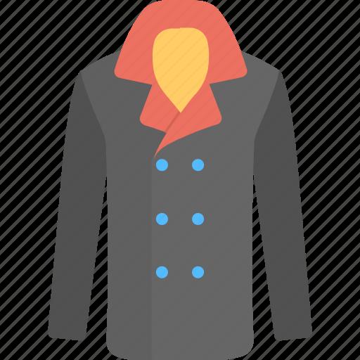 coat, jacket, long coat, overcoat, trench icon