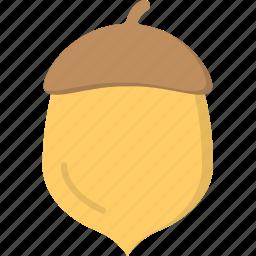 acorn, dried acorn, oak, oak nut, wild fruit icon
